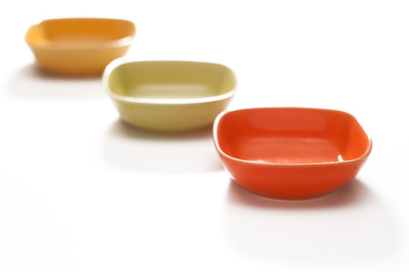 saucers: colored saucers on a white background
