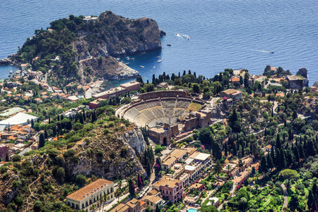 taormina: Aerial view of the Greek Theatre of Taormina Sicily