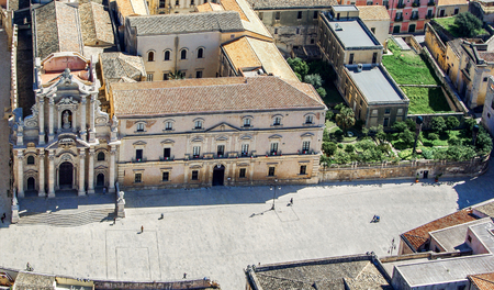 siracuse: Aerial view of Cathedral Square in Siracuse Sicily Stock Photo