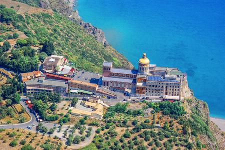 Aerial view of Sanctuary of Tindari Madonna Sicily