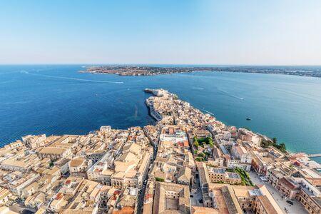 Coastline town Syracuse Sicily and old Ortigia island