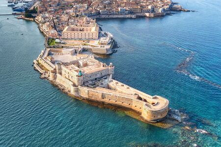 Syracuse Sicily. Aerial view of Maniace fortress in Ortigia.