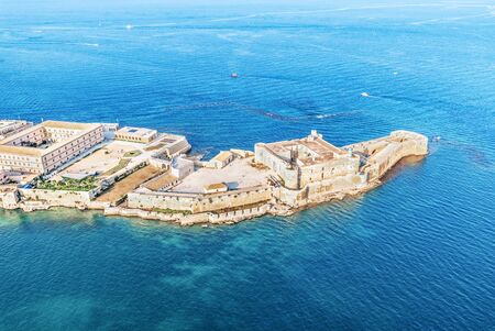 Syracuse Sicily. Aerial view of Maniace fortress in Ortigia. Standard-Bild