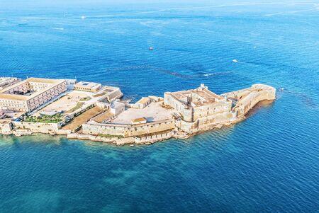 Syrakus Sizilien. Luftaufnahme der Festung Maniace in Ortigia. Standard-Bild