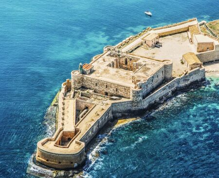 Aerial view of Maniace fortress in Syracuse Sicily Stock Photo