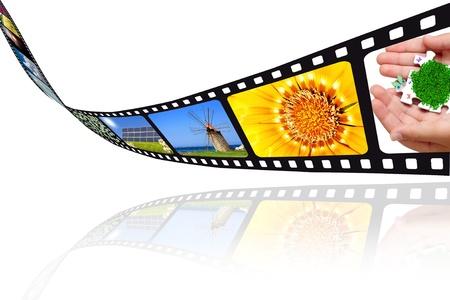 film editing: Movie film images