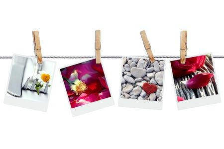 Romantic pictures hanging on the wire photo