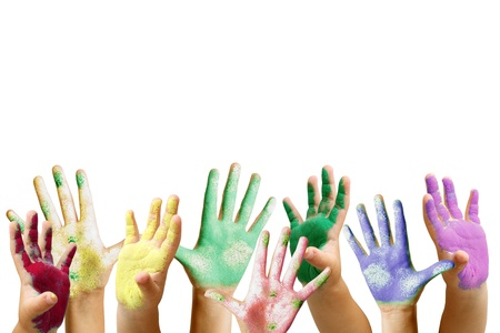 Lots of colorful children s hands Stock Photo