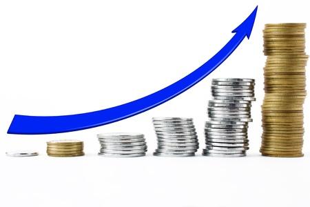 Münzen in einer Reihe angeordnet sind, die eine ansteigende Kurve bilden