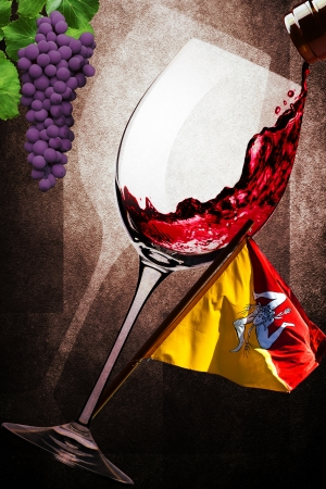 Glass of red wine of Sicily Stock Photo