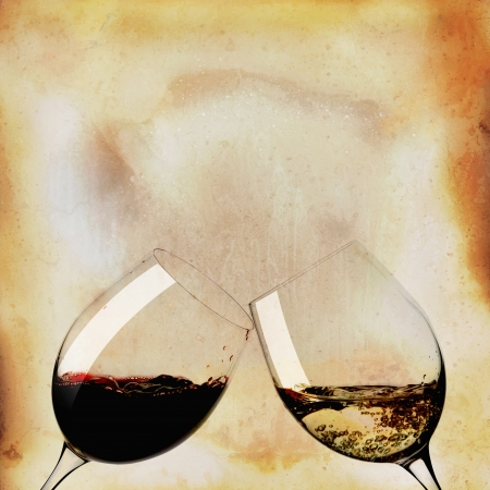 Two glasses of white wine and black