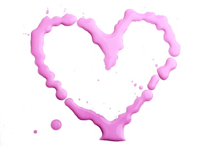 tempera: Heart with tempera colors Stock Photo
