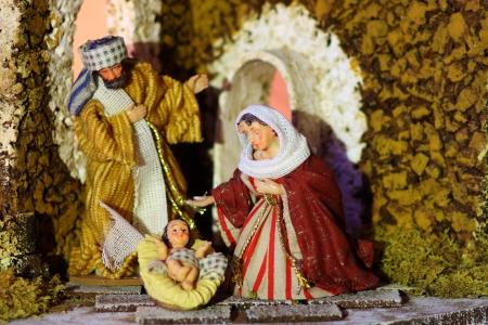 nascita di gesu: Piccola culla di Ges� Maria e Giuseppe Archivio Fotografico