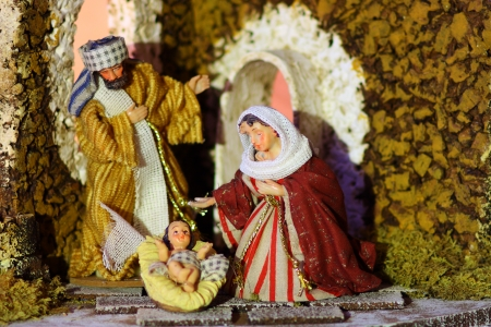 Small crib baby Jesus Mary and Joseph photo