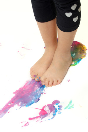 Use your feet for coloring playing photo