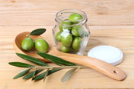 Jar of green olives