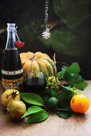 Fresh vegetables and Halloween Standard-Bild