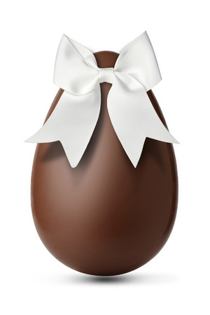 Chocolate egg with a beautiful white ribbon