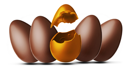 Five easter eggs, one of orato and exploded