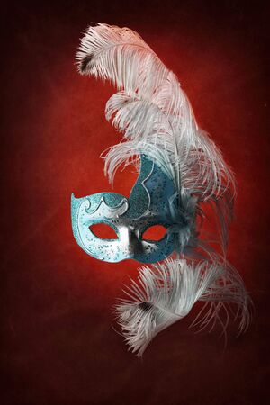 Beautiful masks on red