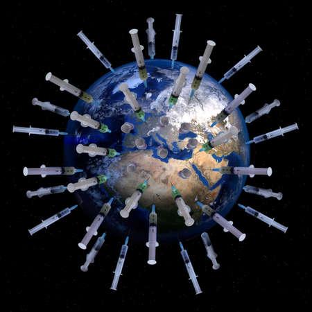 The globe pierced by syringes covid-19 vaccine concept Standard-Bild