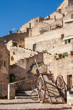Old wooden farm cart. Sassi or stones of Matera European Capital of Culture 2019, Basilicata, Italy