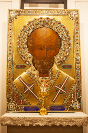 Saint Nicholas, orthodox icon beautiful painting in the church, pilgrimage destination for Roman Catholics and Orthodox Christians from Eastern Europe