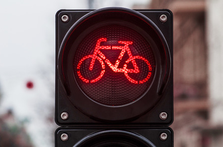 Bicycle traffic signal, red light, road bike, free bike zone or area, bike sharing