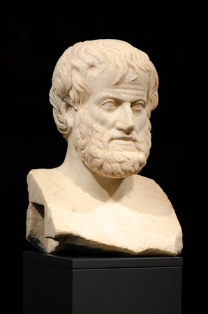 Philosophy. Aristotle. During the archaeological excavations, the marble bust of the great philosopher Aristotle, Acropolis Museum of Athens, Greece