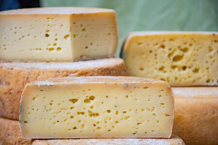 Variety homemade bio natural cheese in a street food market Stok Fotoğraf