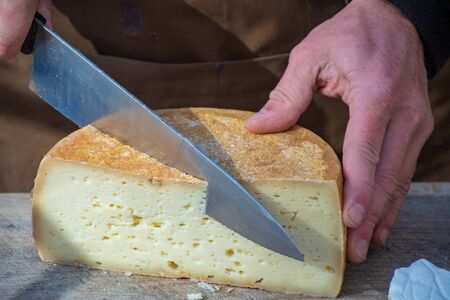 Natural cheese in a street food market