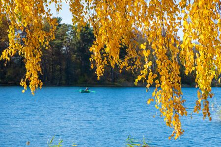 Wonderful autumn landscape with beautiful yellow and orange colored birch trees and boat