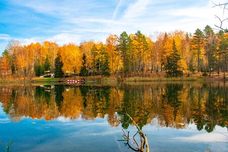 Reflections of Autumn. Beautiful autumn landscape with lake and water, forest with yellow, orange and green trees, October and November background