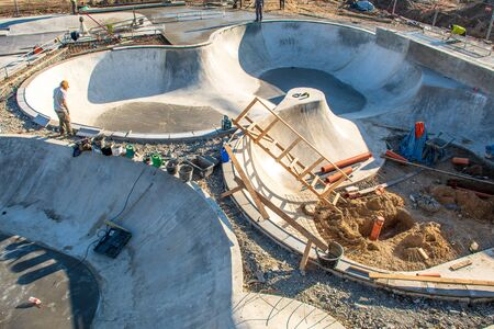 Building a new skateboard park, skate park, skating rink, under construction