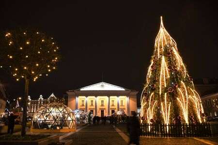 Vilnius Town Hall, Lithuanian Vilnius rotuse at Christmas, market, night