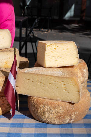 Variety homemade bio natural cheese in a street food market in Latvia, with Latvian flag, vertical