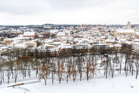 Aerial view of Vilnius old town, capital of Lithuania in winter day with snow