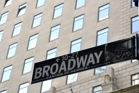 Broadway is a wide avenue in New York and one of the oldest north-south routes in the city, dating back to the first Dutch settlement of New Amsterdam