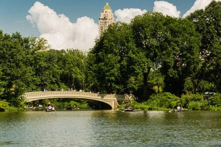 A sunny day at the lake in Central Park - New York - Usa