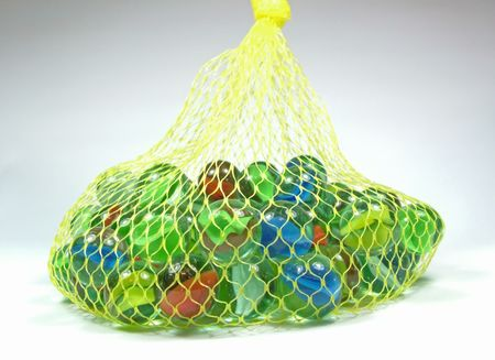 a mesh bag of marbles