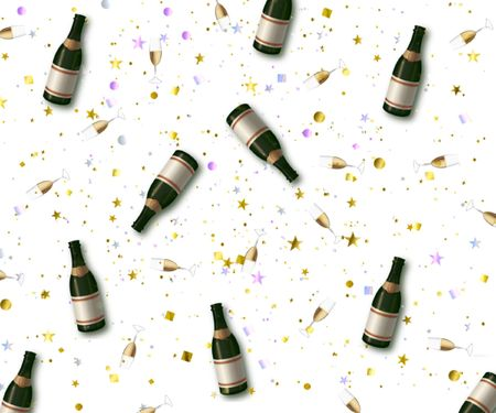 decore:  champaign bottles and glasses mixed in with confetti on a white background Stock Photo