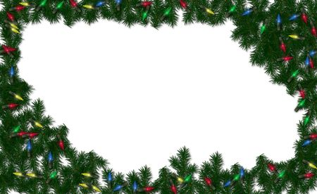christmas greenery and lights framed on a white background stock photo 620951 - Christmas Greenery