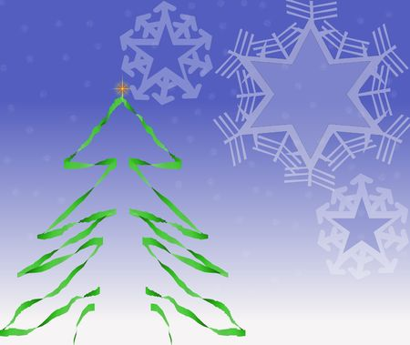 Vector drawings of Christmas tree and snowflakes on a snowy background Stock Photo