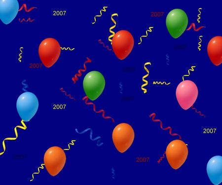 a mixture of balloons and streamrs on a dark navy blue background.  dated for new years 2007 Stock Photo