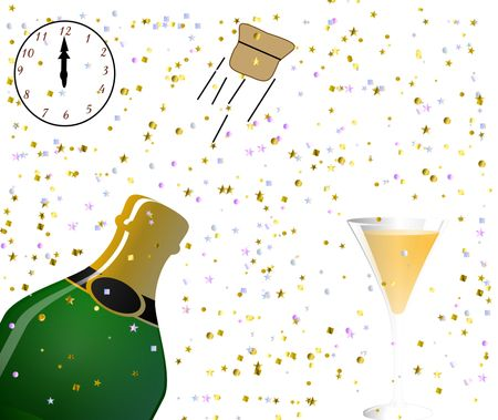 popping cork: vector drawn champaign bottle and glass with bubbles popping a cork with a wine glass