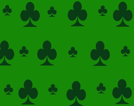 green background with dark green clovers in a pattern. Stock Photo