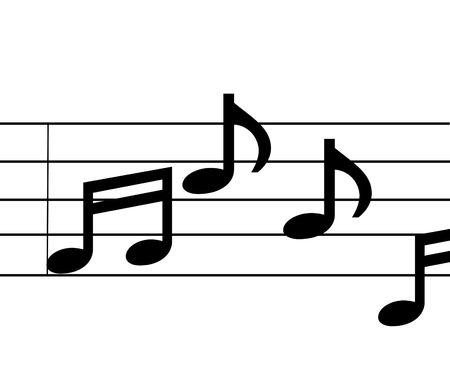 musical notes on a five scale with plain white background.  no song in particular