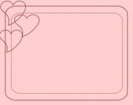 light pink background with three hearts in the upper left hand corner