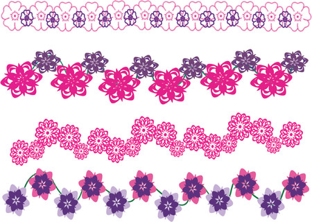 pink floral border vector illustrations