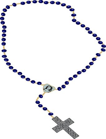 rosary clip-art illustration on white background.
